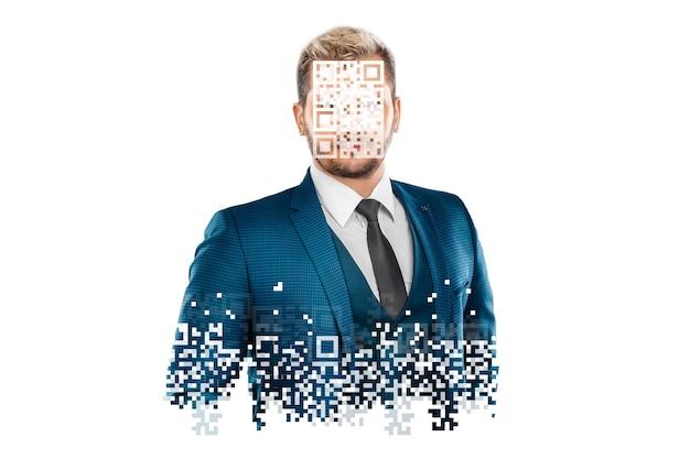 Ein mann in einem blauen anzug mit geschlossenem gesicht, persönliche datensicherheit, identitätssicherheit.