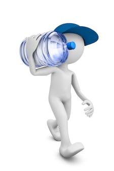 Ein mann mit einer flasche gereinigten wassers zum trinken