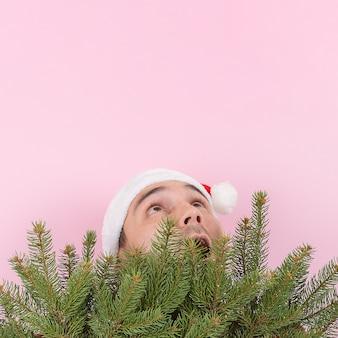 Ein mann mit rotem hut schaut hinter den weihnachtsbäumen hervor und sieht sich einen platz für text an. rosa hintergrund, kopienraum.