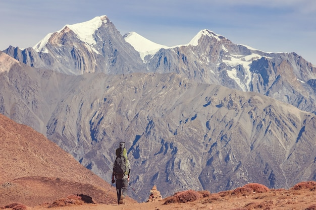 Ein mann mit rucksack und gitarre macht sich auf den weg in die berge nepals. rückansicht.
