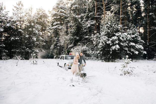 Ein mann und ein mädchen bereiten sich auf weihnachten vor und gehen mit dem hund husky auf einem hintergrund eines oldtimers, auf dem dachbaum und geschenken im schneebedeckten winterwald