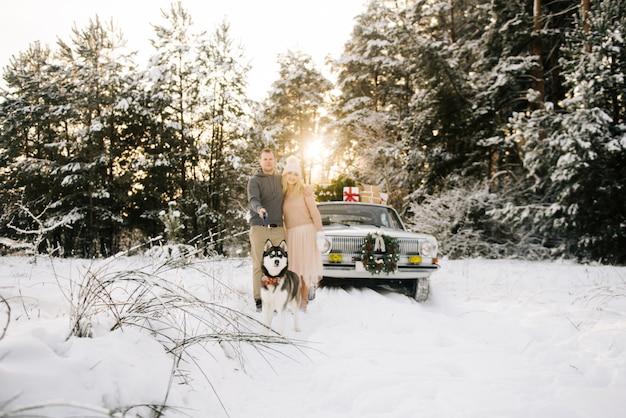 Ein mann und ein mädchen bereiten sich auf weihnachten vor und gehen mit einem husky-hund auf einem retro-autohintergrund, einem weihnachtsbaum auf dem dach und geschenken in einem schneebedeckten winterwald. selektiver fokus auf den hund