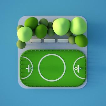 Ein modell eines sportplatzes mit einem fußballfeld.