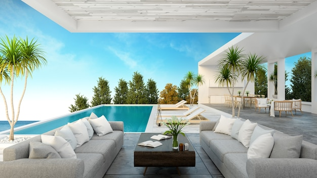 Ein modernes strandhaus, privater swimmingpool
