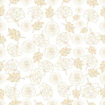 Ein nahtloses muster mit blättern und rosenblüten