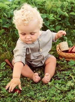 Ein niedliches schönes lockiges kind mit einem korb von erdbeeren sammelt eine neue ernte im freien auf der grünen wiese