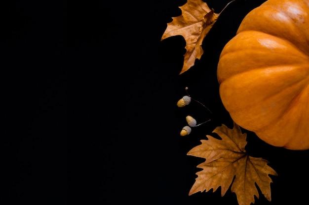 Ein orangefarbener kürbis mit blättern und eicheln liegt auf schwarzem hintergrund