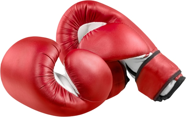 Ein paar boxhandschuhe auf transparentem hintergrund isoliert