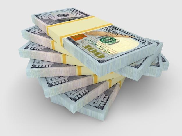 Ein paar bündel gelddollar liegen übereinander