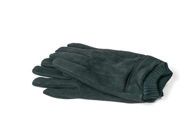 Ein paar lederhandschuhe für männer, isoliert auf weiß.