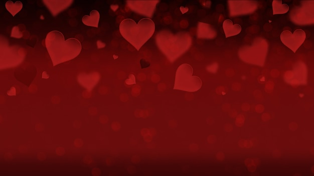 Ein plakatbanner für verkäufe und rabatte mit einem einfachen bild der herzen auf einem roten hintergrund, liebe, junggesellenabschied, hochzeit.