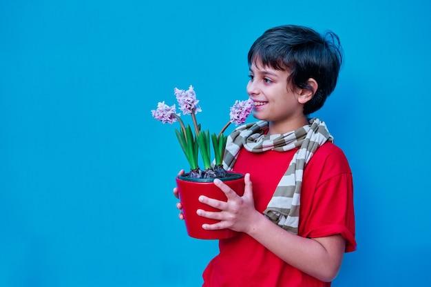 Ein porträt des jungen im roten t-shirt und im gestreiften schal, der eine hyazinthenpflanze hält. an der blauen wand. speicherplatz kopieren