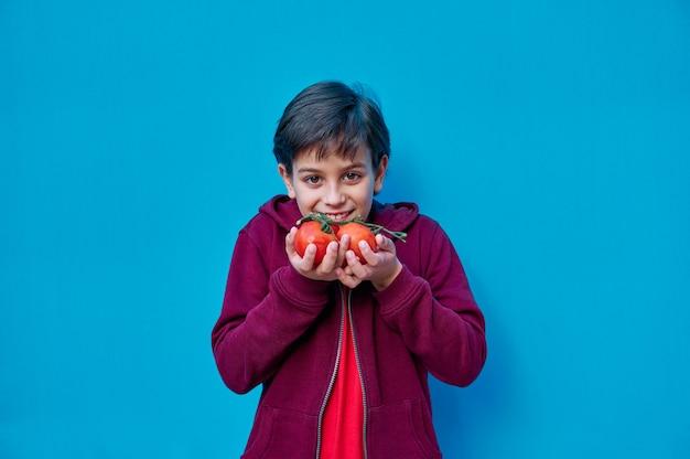 Ein porträt des lächelnden jungen im roten t-shirt, das tomaten auf zweig lehrt