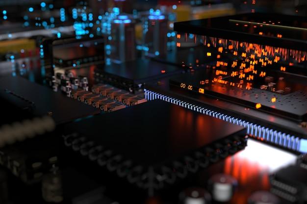 Ein prozessorchip auf einer hauptplatine ist eine leiterplatte mit mikrochips, prozessoren und anderen computerteilen in der abstraktion der stadt der zukunft.