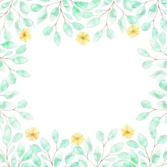 Ein quadratischer aquarellrahmen mit weichen gelben blüten und zweigen von grünen blättern, eine zusammensetzung der sommerblumen auf weiß
