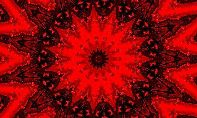 Ein roter glühender blumenkaleidoskopmusterhintergrund.