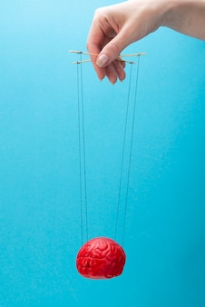 Ein rotes gehirn auf blauem grund, eine hand, die den geist wie eine marionette manipuliert.