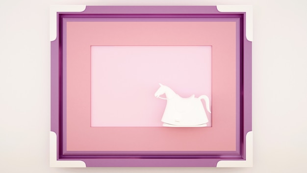Ein schaukelpferd in einem rosa violetten rahmen