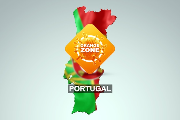 Ein schild mit der aufschrift orange zone auf dem hintergrund einer karte von portugal mit der portugiesischen flagge. orange gefahrenstufe, coronavirus, sperre, quarantäne, virus. 3d-rendering, 3d-darstellung.