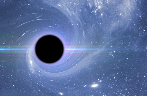 Ein schwarzes loch im weltraum, abstrakte wissenschaftsphantasie tiefe sterne des universums,