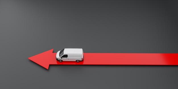 Ein sich schnell bewegender lieferwagen über einem pfeil. 3d-illustration