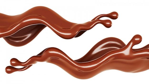 Ein spritzer schokolade. 3d-rendering.