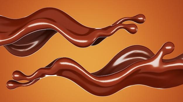 Ein spritzer schokolade auf braunem hintergrund. 3d-rendering.