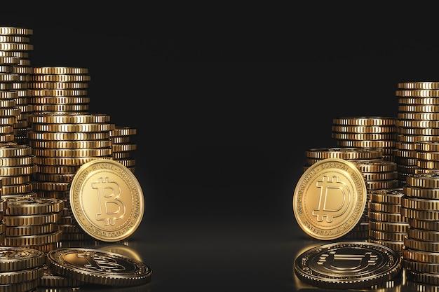 Ein stapel von kryptowährungsmünzen zwischen bitcoin (btc) und dogecoin (doge) in einer schwarzen szene, digitale währungsmünze für die förderung des finanz- und tokenaustauschs. 3d-rendering