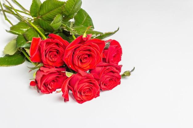 Ein strauß leuchtend roter rosen isoliert auf weißer oberfläche