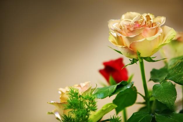 Ein strauß roter und gelber rosen