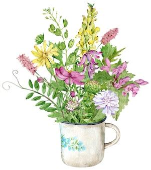 Ein strauß wildblumen in der tasse. aquarellillustration mit kräutern und blumen