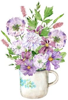 Ein strauß wildblumen in der tasse. aquarellillustration mit wiesenkräutern und -blumen