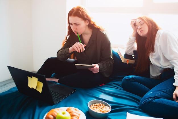 Ein student arbeitet sorgfältig mit einem laptop und die zweite junge frau schlief ein. zwei rothaarige studenten lernen zu hause oder in einem studentenwohnheim. sie bereiten sich auf prüfungen vor