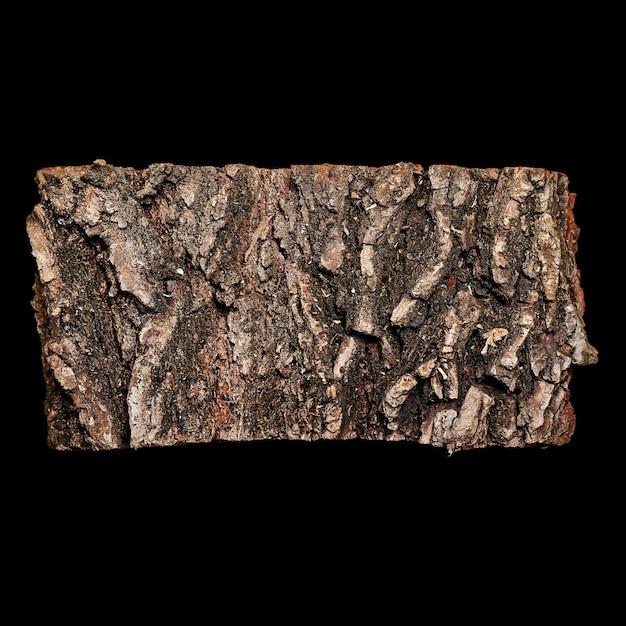 Ein stück baumrinde lokalisiert auf schwarz