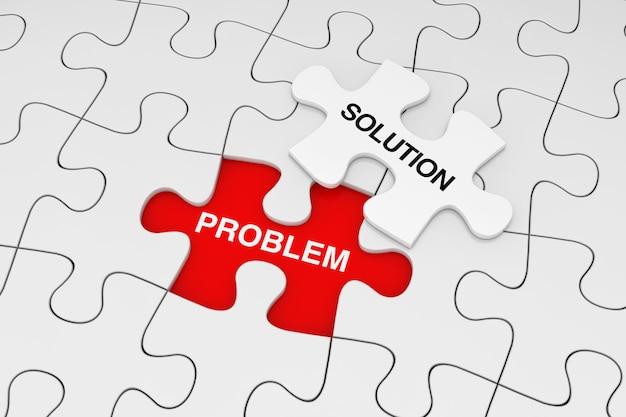Ein stück weißes puzzle über plain of white puzzle mit problem- und lösungswörtern auf rotem grund. 3d-rendering