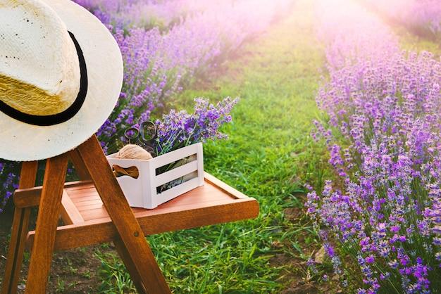 Ein stuhl zwischen den blühenden lavendelreihen unter den sommersonnenuntergangstrahlen.