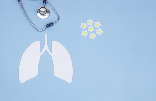 Ein symbol der menschlichen lunge, ein stethoskop und papiergänseblümchen