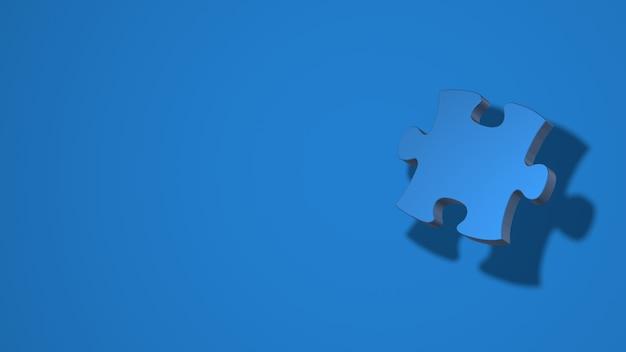 Ein teil des puzzles. stilvolle minimale abstrakte horizontale szene, platz für text. trendige klassische blaue farbe. 3d-rendering
