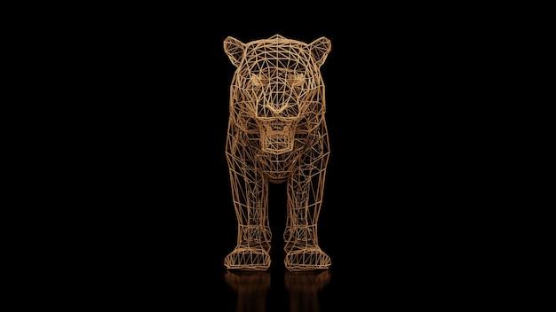 Ein tiger aus vielen polygonen auf schwarzem, einheitlichem hintergrund. konstruktor von kubischen elementen. kunst der wilden tierwelt in moderner performance. 3d-rendering.