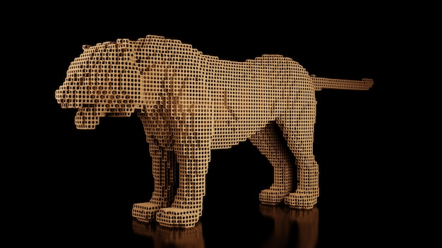 Ein tiger aus vielen würfeln auf einem schwarzen uniformraum. konstruktor kubischer elemente. kunst der wildtierwelt in moderner performance. 3d-rendering.