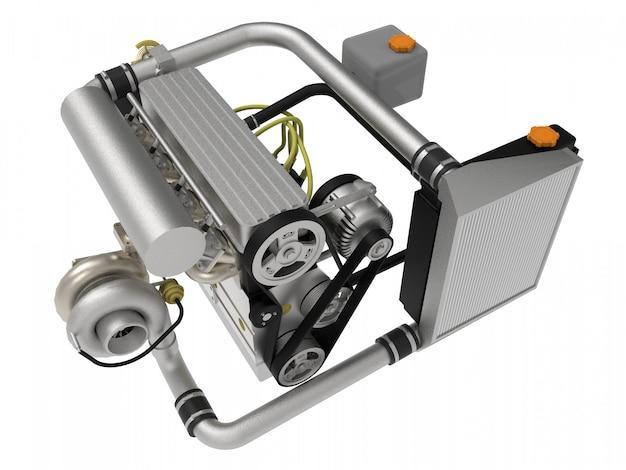 Ein turbogeladener vierzylinder-hochleistungsmotor für einen sportwagen. 3d-rendering.