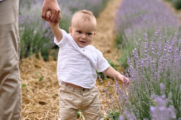 Ein vater geht mit seinem sohn auf einem lavendelfeld spazieren.