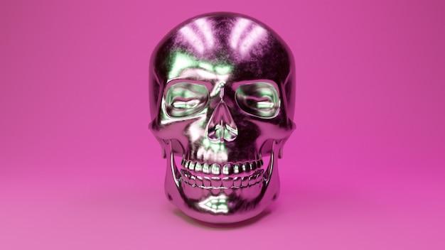 Ein verkratzter metallischer menschlicher schädel glamouröser rosa hintergrund