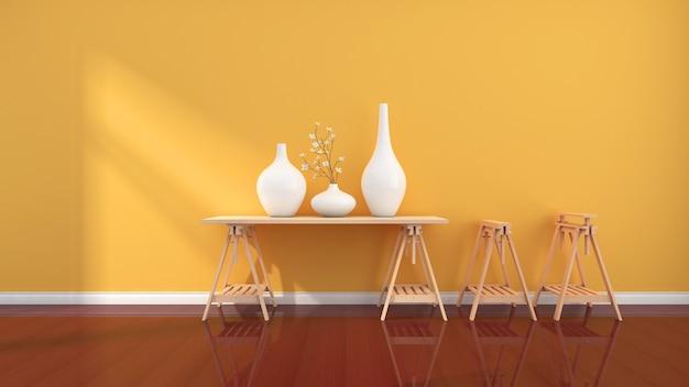 Ein warmer raum mit gelben wänden