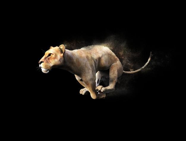 Ein weiblicher löwe, der mit staub-partikel-effekt auf schwarzen hintergrund sich bewegt und läuft
