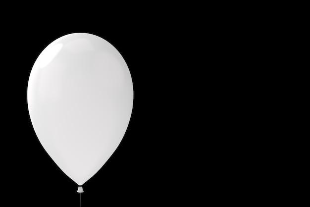 Ein weicher weißer großer ballon mit beschneidungspfad auf schwarzem hintergrund.