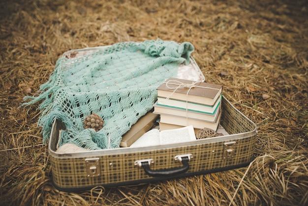 Ein weinlesekoffer mit alten büchern und einem gestrickten schal auf dem verblaßten und verwelkten gras