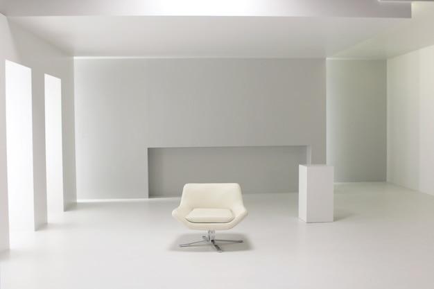 Ein weißer raum im studio eingerichtet