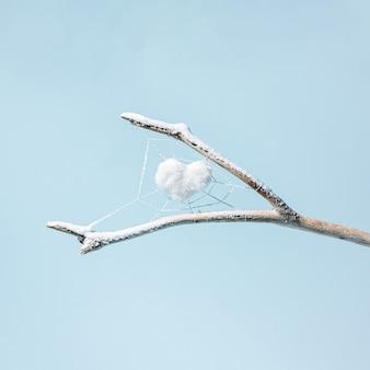 Ein weißes herz in einem spinnennetz auf einem mit schnee bedeckten zweig isoliert auf einem pastellblauen hintergrund. wintermotiv. horizontales fotolayout. quadrat mit kopienraum