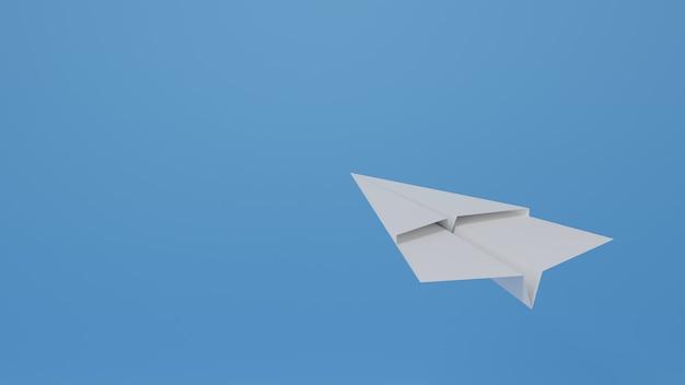 Ein weißes papierflugzeug, das auf blauem hintergrund nach oben zeigt, luftpost, geschäftsrichtungskonzept, 3d-rendering-illustration